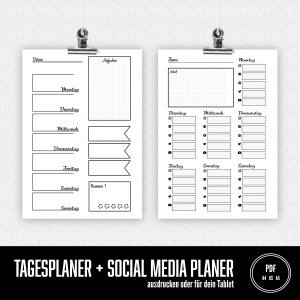 Tagesplaner Planer social Media Plan Bullet Journal PDF drucken Tablet laden Sandra Bredtmann B1